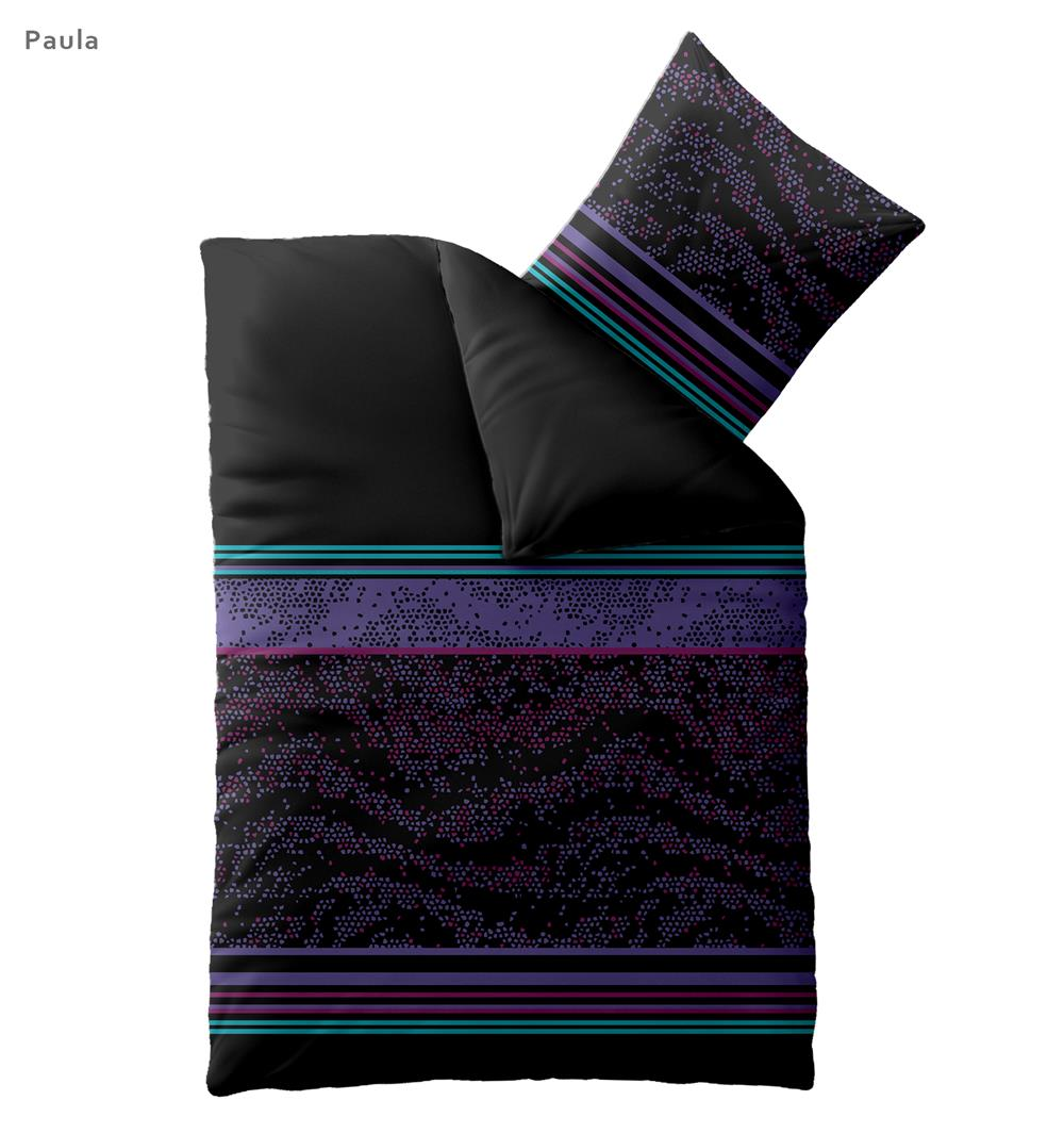 bettw sche garnituren microfaser 135x200 155x220 schwarz lila harmony paula ebay. Black Bedroom Furniture Sets. Home Design Ideas