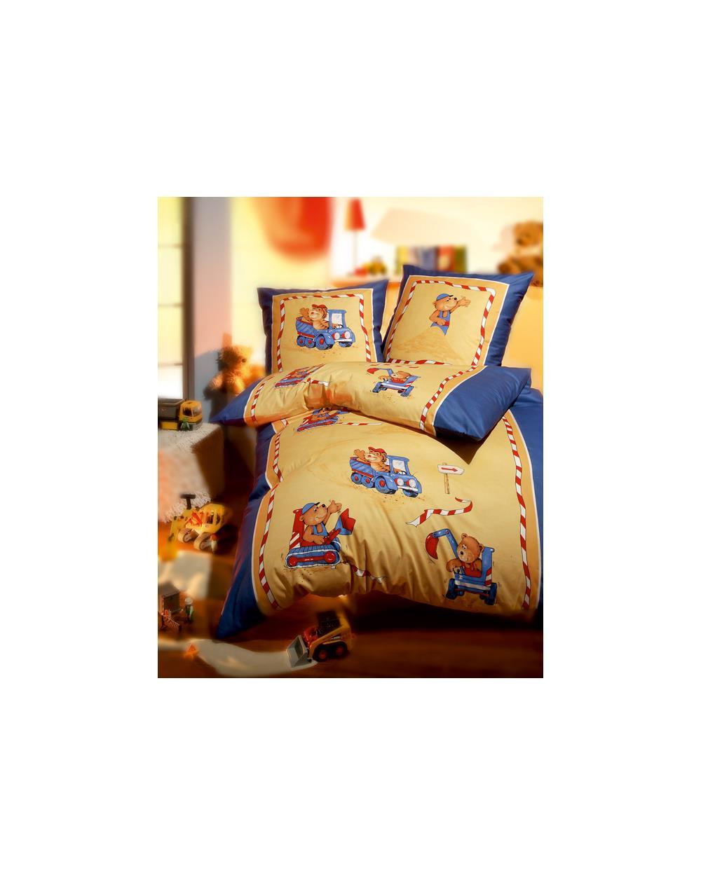 bettw sche bettgarnitur kind baby baumwolle 135x200 b renbaustelle blau kaeppel ebay. Black Bedroom Furniture Sets. Home Design Ideas