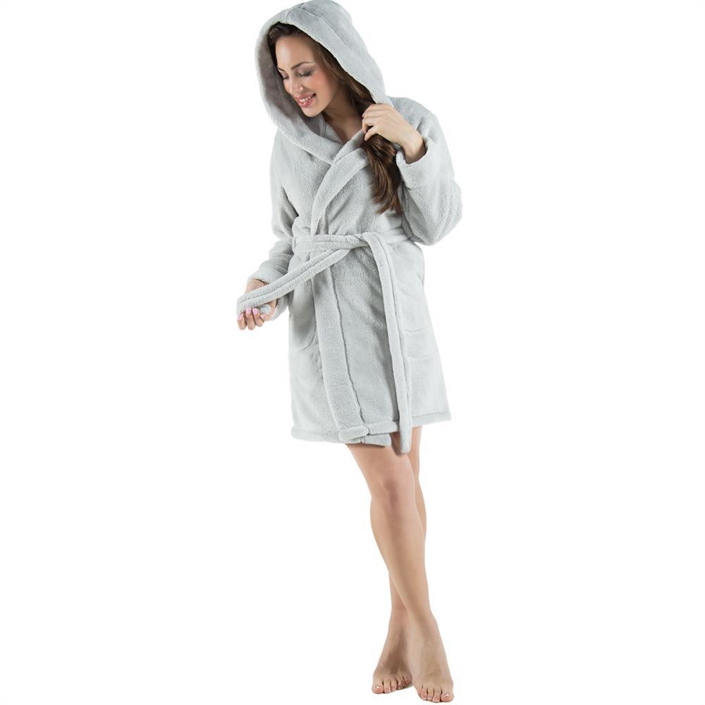 kapuzen bademantel morgenmantel saunamantel damen kurz fleece uni korfu ebay. Black Bedroom Furniture Sets. Home Design Ideas