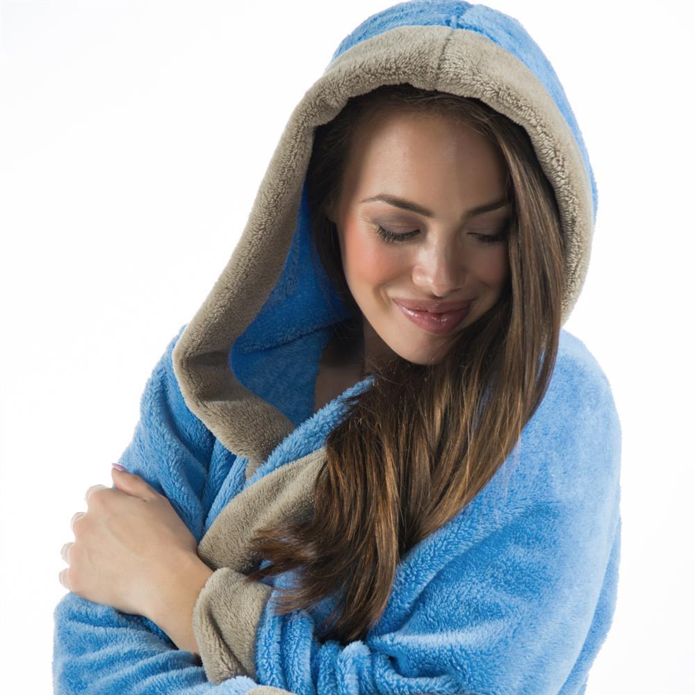 kapuzen bademantel damen xs bis xxxl morgenmantel sauna wellness fleece kurz kos ebay. Black Bedroom Furniture Sets. Home Design Ideas