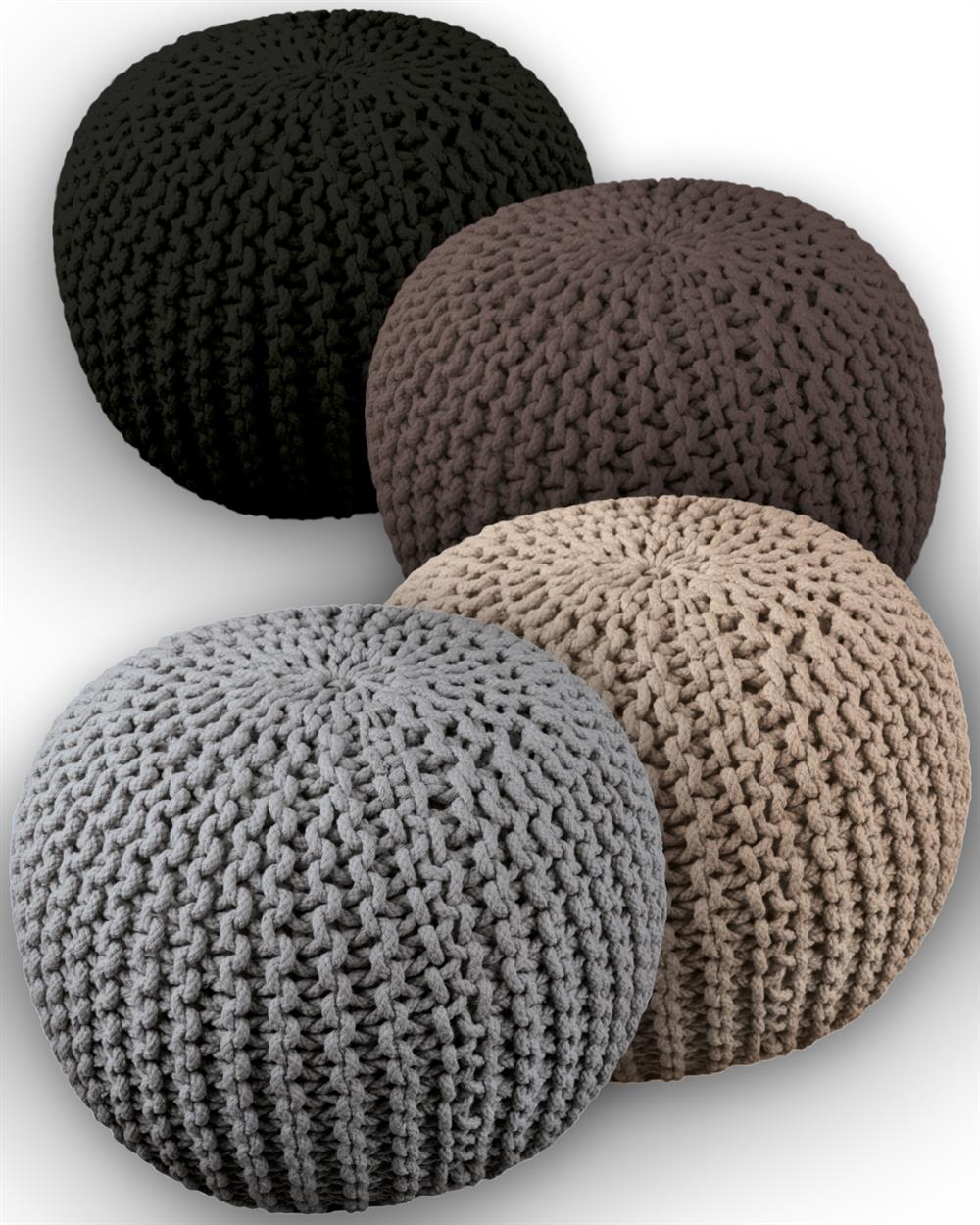 sitzsack sitzkugel strickkugel sitzbank fu bank pouf hocker baumwolle rock ebay. Black Bedroom Furniture Sets. Home Design Ideas
