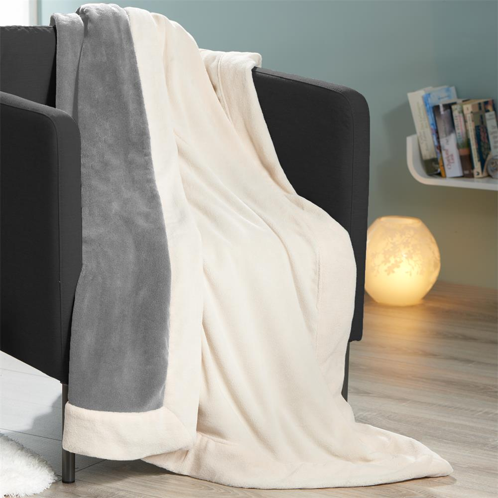 kuscheldecke sofadecke tagesdecke wohndecke fleece microfaser zweifarbig toronto ebay. Black Bedroom Furniture Sets. Home Design Ideas