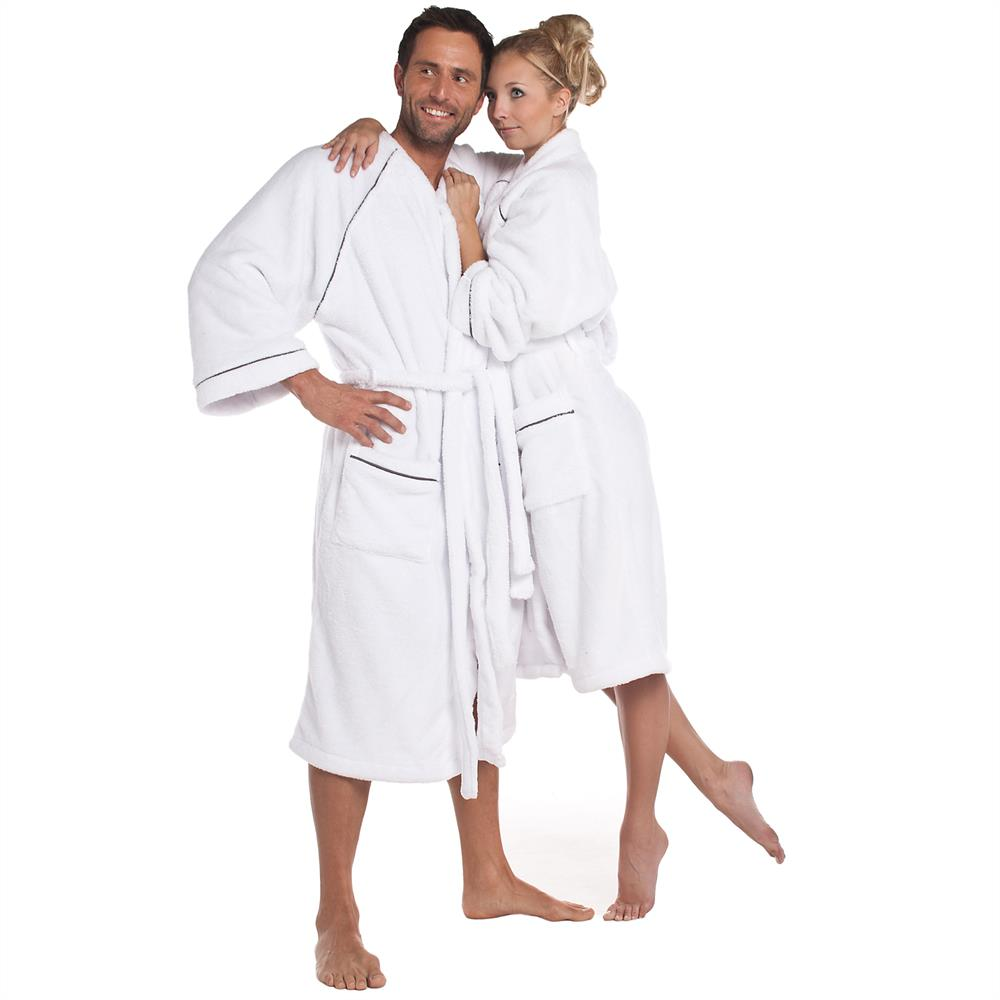 bademantel morgenmantel sauna damen herren microfaser kimono wellsoft weiss ebay. Black Bedroom Furniture Sets. Home Design Ideas