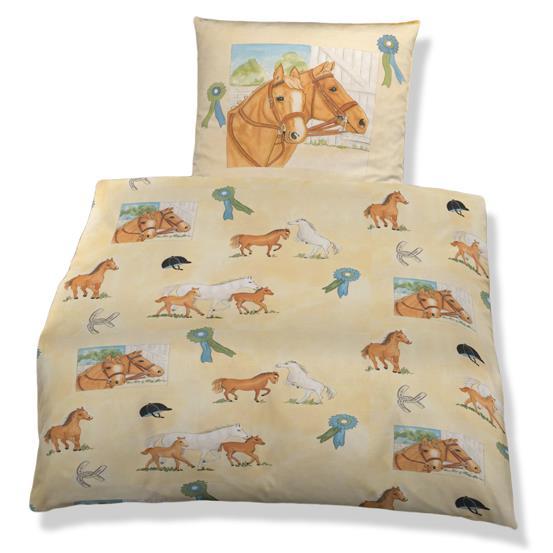 kinder bettw sche m dchen 135x200 cm baumwolle biber pferd. Black Bedroom Furniture Sets. Home Design Ideas