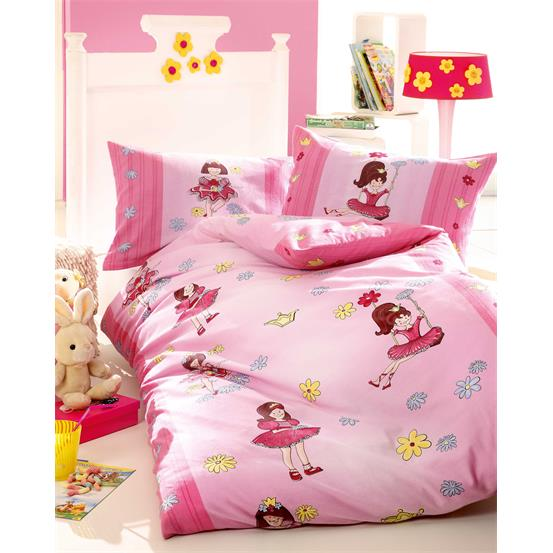kinder bettw sche garnitur biber baumwolle gr 135x200 w rmend rosa ballerina ebay. Black Bedroom Furniture Sets. Home Design Ideas