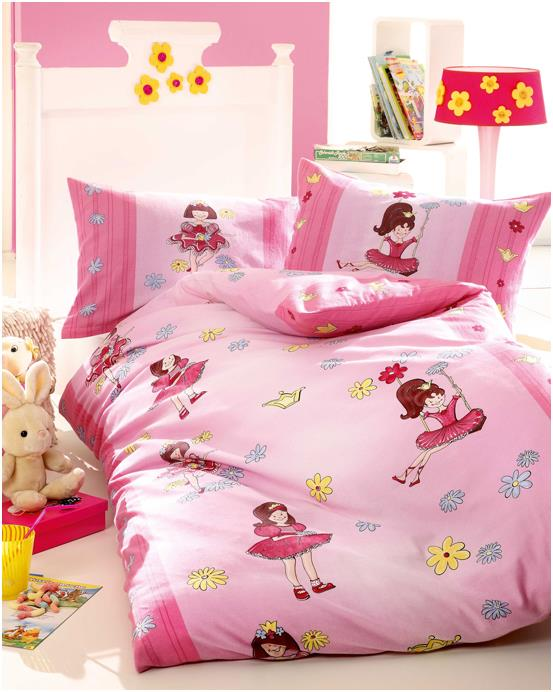 kinder bettw sche bettw schegarnitur biber baumwolle gr 135x200 rosa ballerina. Black Bedroom Furniture Sets. Home Design Ideas