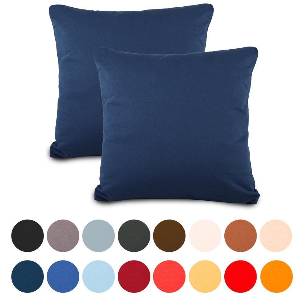 doppelpack 80x80 cm kissenbez ge kissenh lle kissen baumwolle jersey classic line dunkelblau. Black Bedroom Furniture Sets. Home Design Ideas