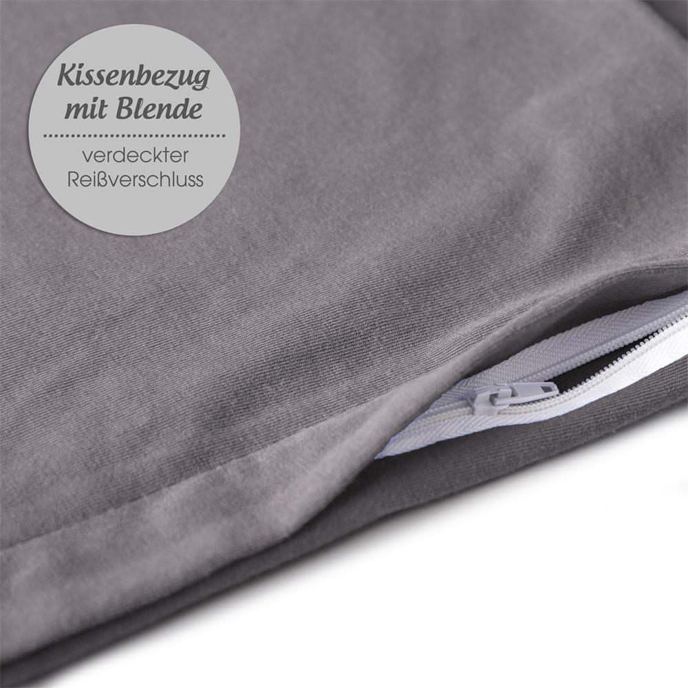 doppelpack 40x80 cm kissenbez ge kissenh lle kissen baumwolle jersey classic line dunkel grau. Black Bedroom Furniture Sets. Home Design Ideas