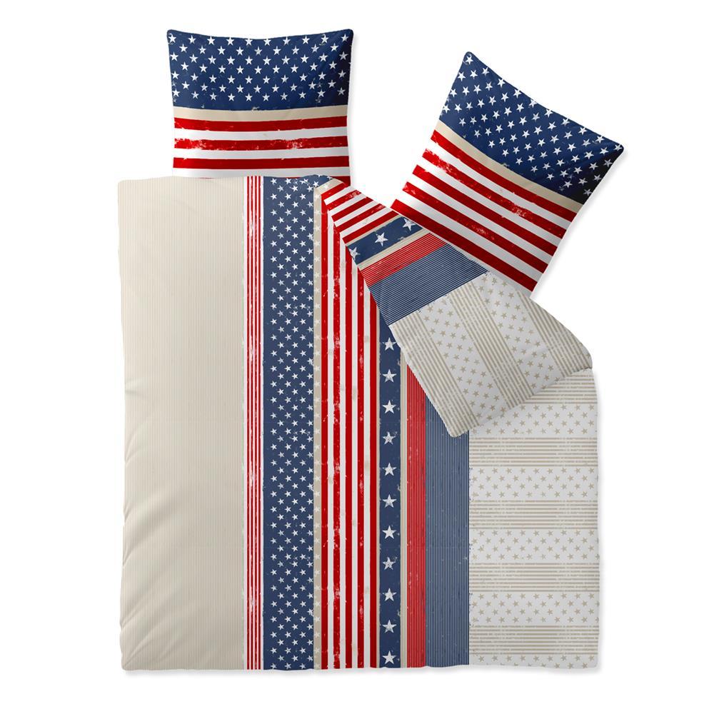 Bettwäsche Garnitur 200x220 Baumwolle Reißverschluss Fashion Amerika