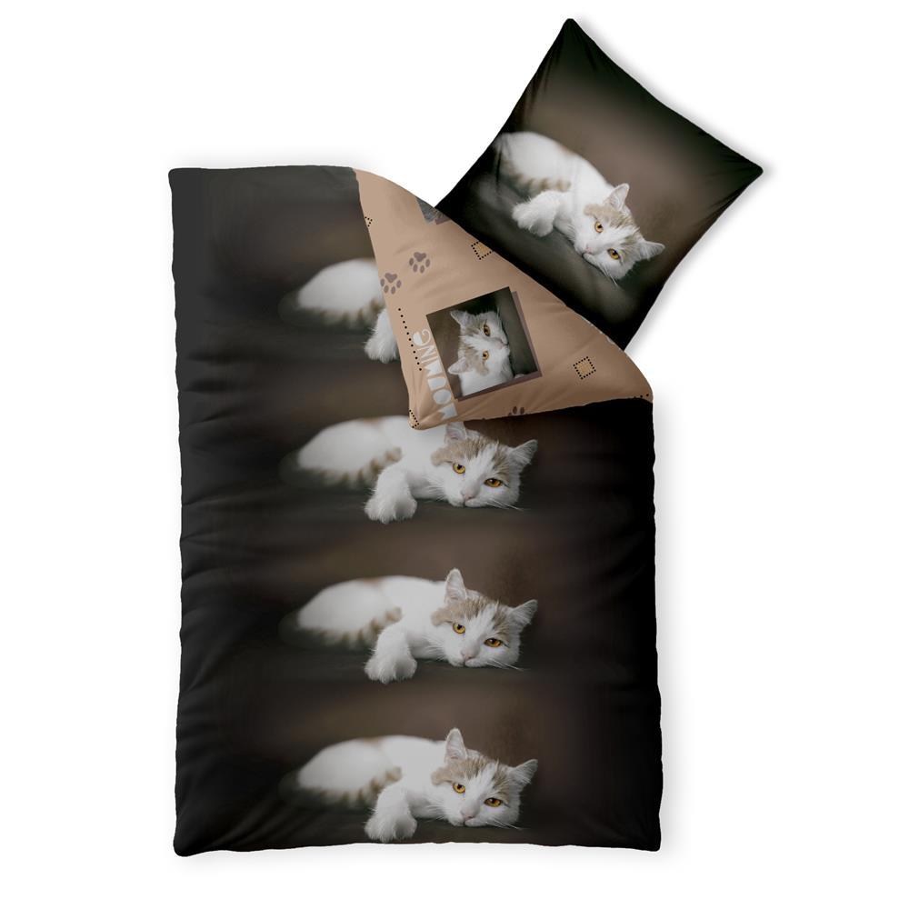 Bettwäsche Garnitur Baumwolle Fashion Fun 155x220 Katze Wwwhome