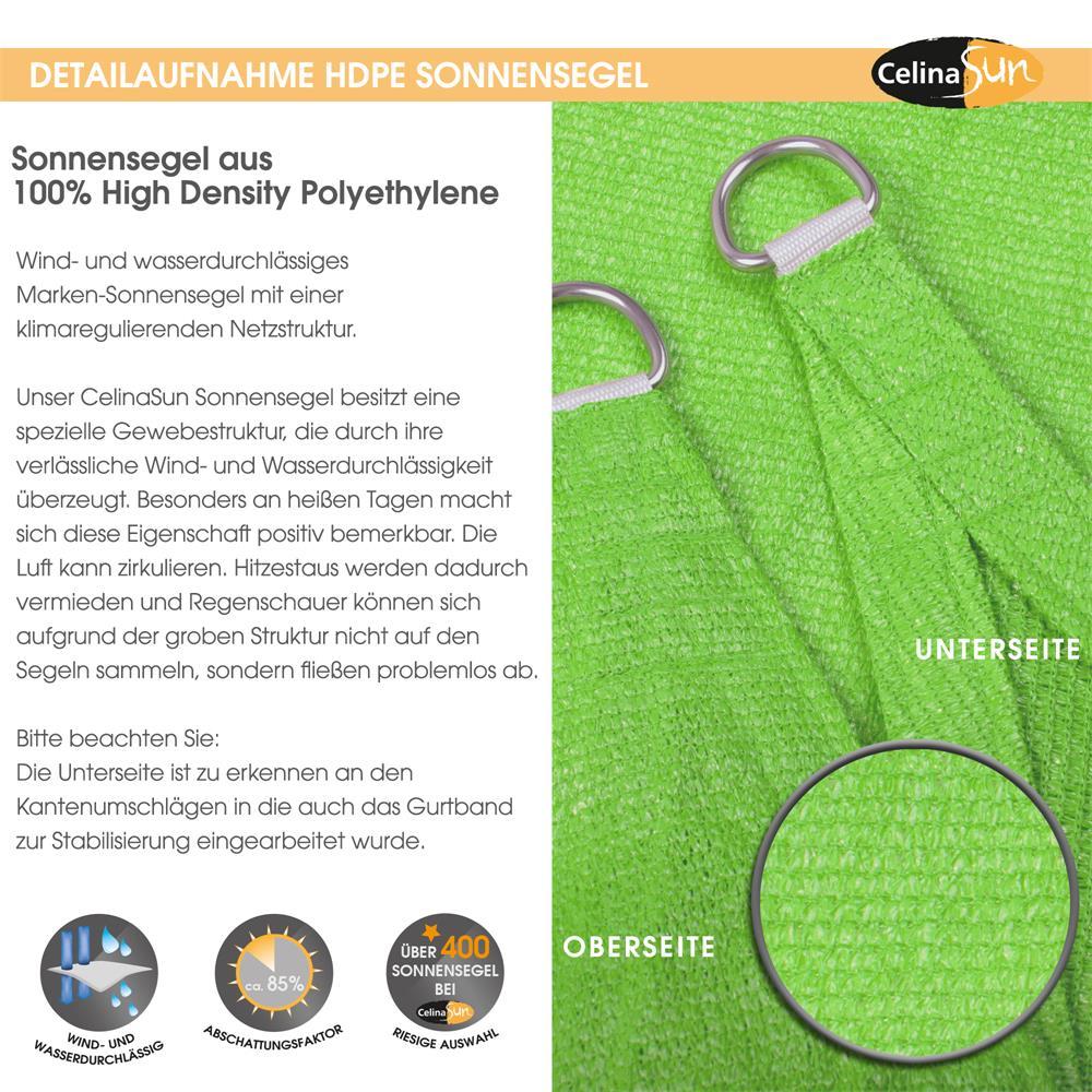 Indexbild 8 - Sonnenschutz Segel HDPE Vierecke Sonnendach Segeltuch Balkon UV-Schutz CelinaSun