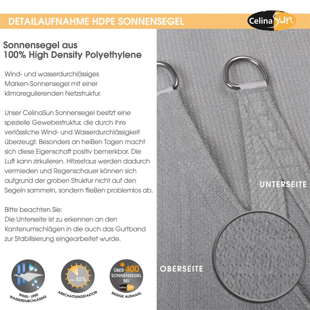 Indexbild 11 - Sonnenschutz Segel HDPE Vierecke Sonnendach Segeltuch Balkon UV-Schutz CelinaSun