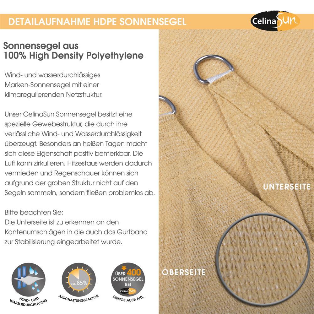 Indexbild 17 - Sonnenschutz Segel HDPE Vierecke Sonnendach Segeltuch Balkon UV-Schutz CelinaSun