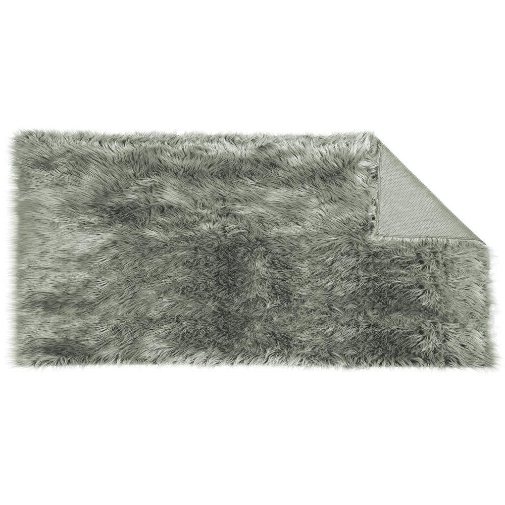 l ufer teppich bettvorleger eckig 80x150 cm fell imitat grau plush. Black Bedroom Furniture Sets. Home Design Ideas
