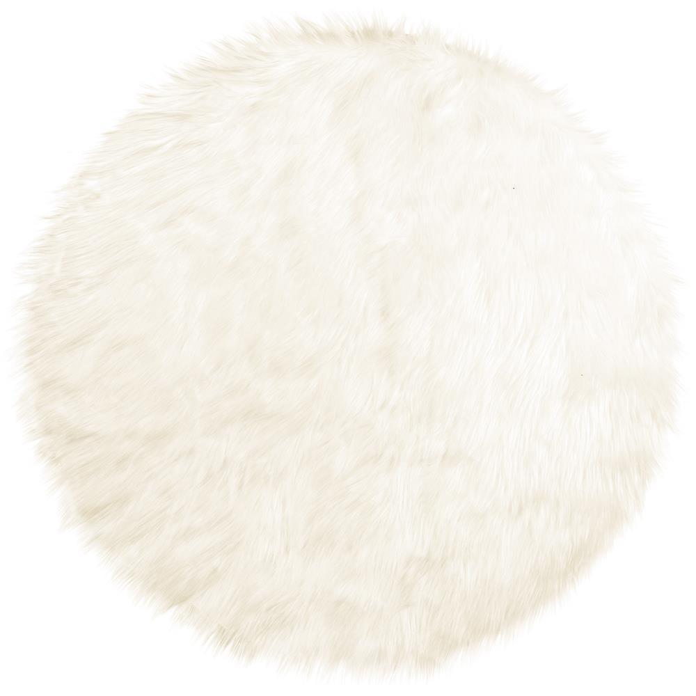 l ufer teppich bettvorleger rund durchmesser 90 cm fell imitat wei plush. Black Bedroom Furniture Sets. Home Design Ideas