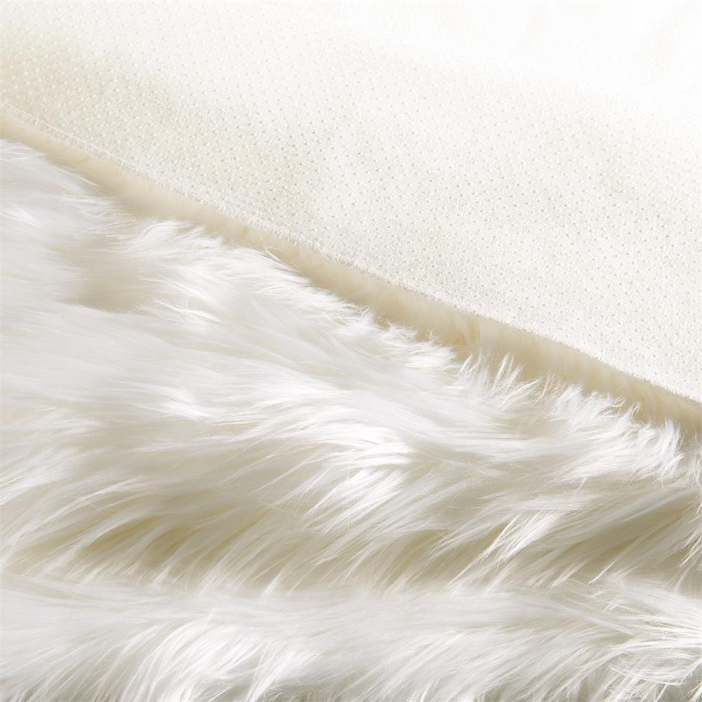 l ufer teppich bettvorleger eckig 80x150 cm fell imitat wei plush. Black Bedroom Furniture Sets. Home Design Ideas