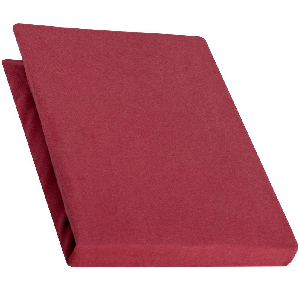 spannbettlaken baumwolle jersey 90x200 100x220 pur bordeaux rot. Black Bedroom Furniture Sets. Home Design Ideas
