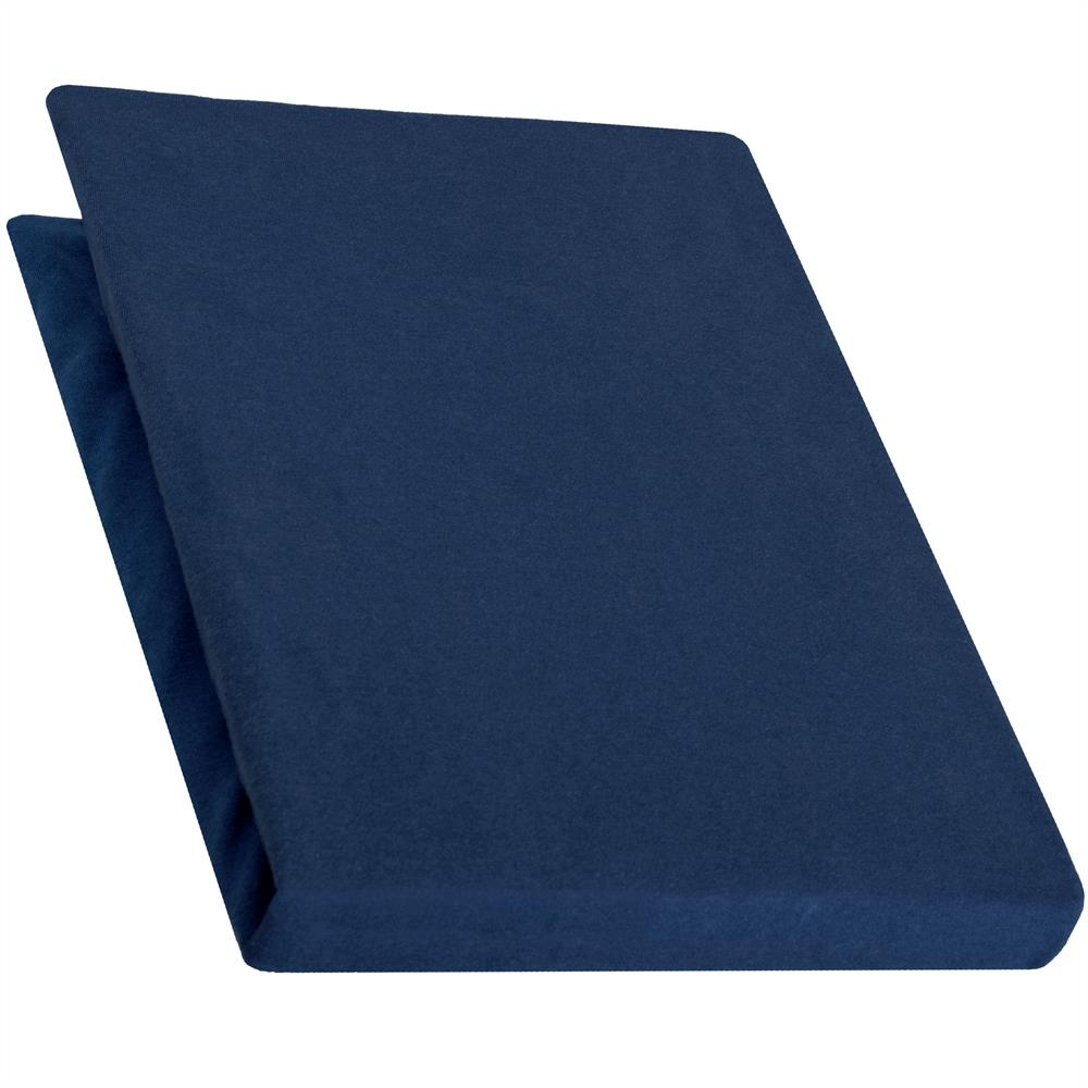 spannbettlaken baumwolle jersey 140x200 160x220 pur dunkel blau. Black Bedroom Furniture Sets. Home Design Ideas