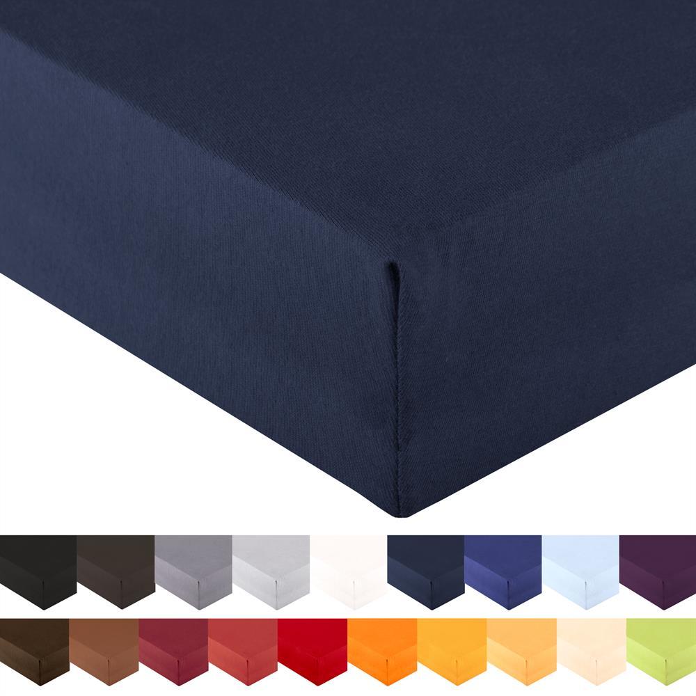 doppelpack spannbettlaken wasserbett jersey royal 90x200 100x220 cm dunkelblau. Black Bedroom Furniture Sets. Home Design Ideas