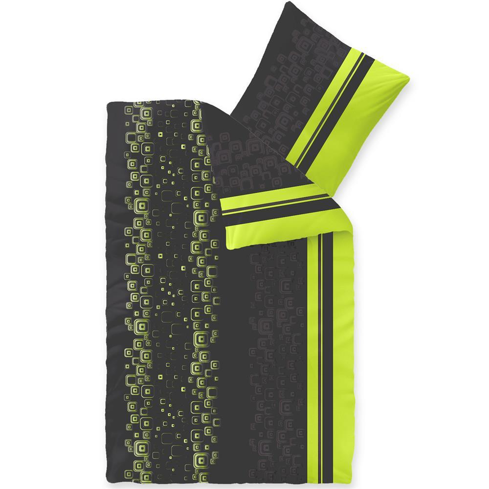 Bettwäsche Microfaser Fleece 155x220 Style Cosima Grün Grau Schwarz