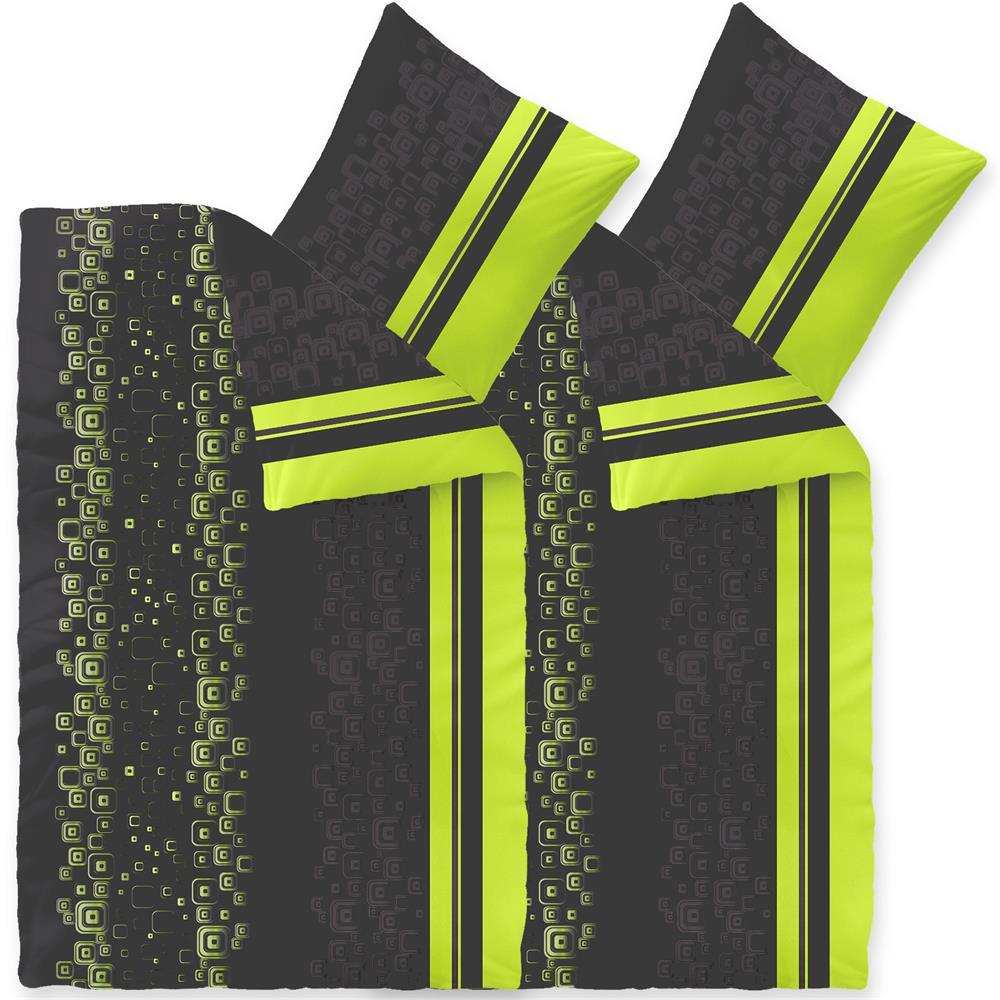 Bettwäsche Microfaser Fleece 4 Teilig 135x200 Style Cosima Grün Grau