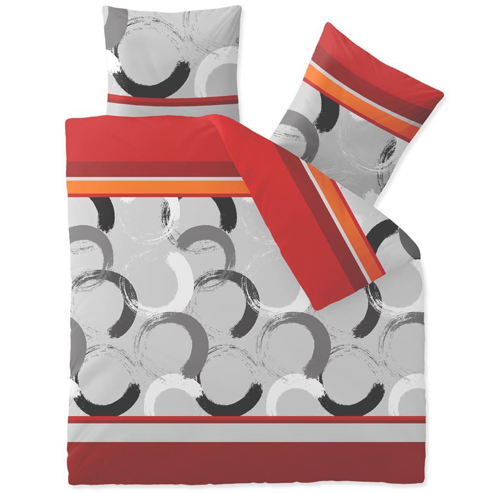 Bettwäsche Microfaser Fleece 200x200 Style Elana Rot Orange Grau