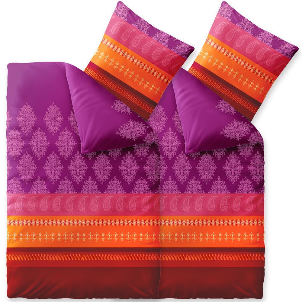 bettw sche winter 135x200 4 teilig baumwolle biber touchme caro violett rot orange. Black Bedroom Furniture Sets. Home Design Ideas