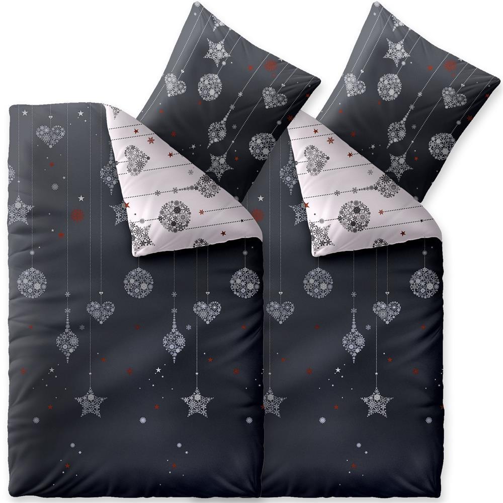 bettw sche winter 155x220 4 teilig baumwolle biber touchme kalina weihnachten grau wei. Black Bedroom Furniture Sets. Home Design Ideas