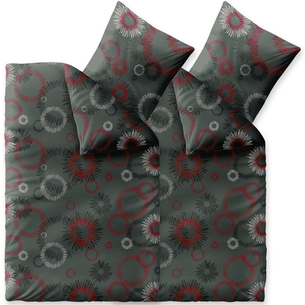 Bettwäsche Winter 135x200 4 Teilig Baumwolle Biber Touchme Mira Grau