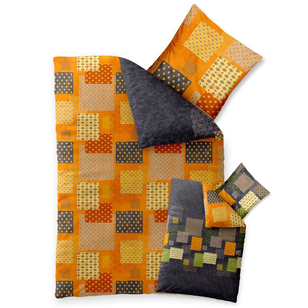 Bettwäsche Garnitur Baumwolle Trend 135x200 Adia Grau Orange Grün