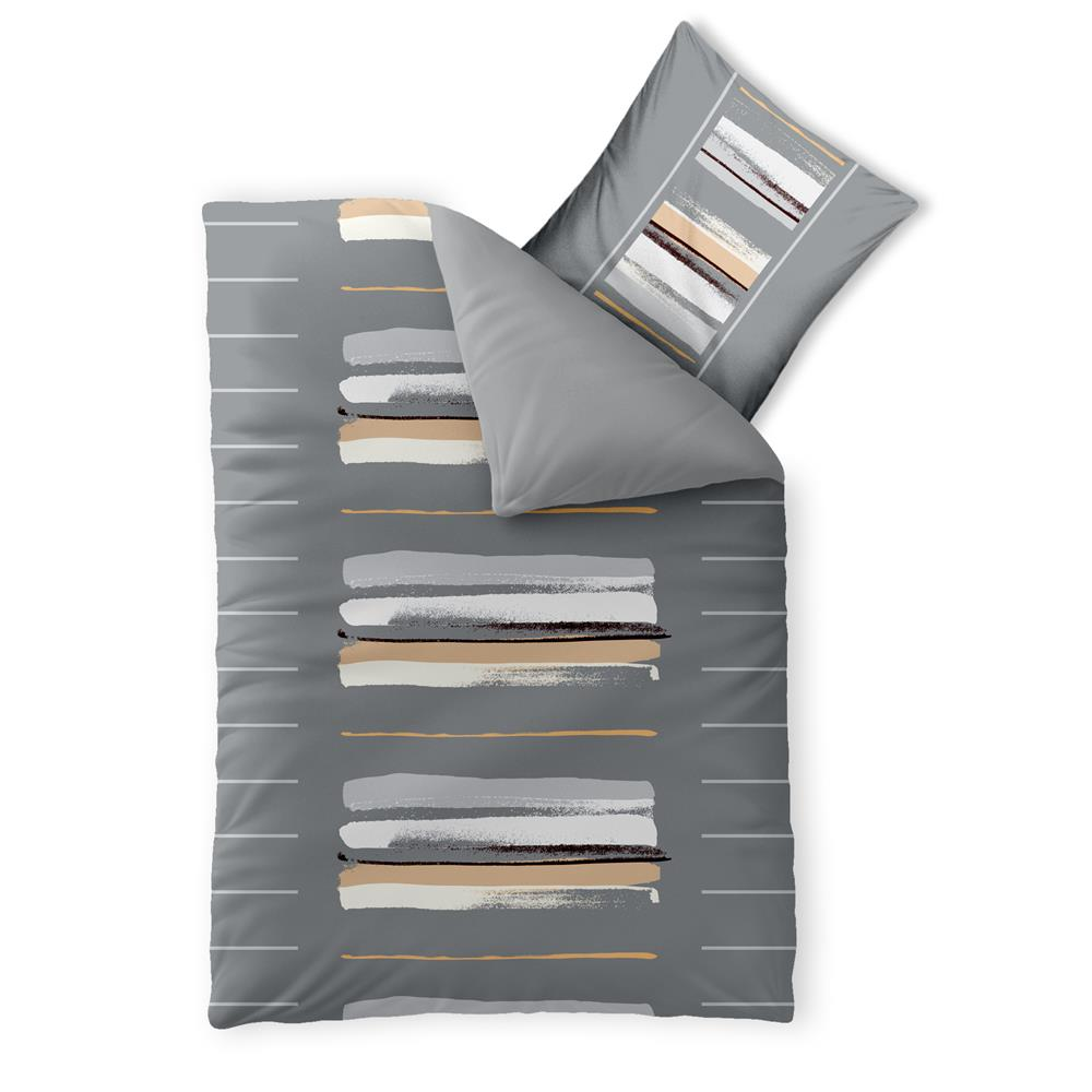 bettw sche garnitur baumwolle trend 155x220 hanaa grau beige. Black Bedroom Furniture Sets. Home Design Ideas