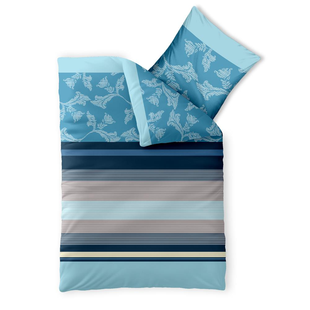 bettw sche garnitur baumwolle trend 155x220 isabis blau beige. Black Bedroom Furniture Sets. Home Design Ideas