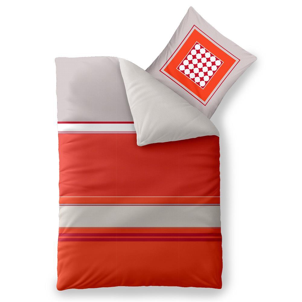 Bettwäsche Garnitur Baumwolle Trend 135x200 Tabita Grau Rot Orange