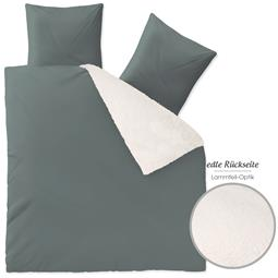 aqua-textil Bettwäsche Garnitur Lammfelloptik Reißverschluss Arctic 200x200 grau