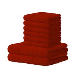 Handtuch Baumwolle Bari Set 6x 50x100 + 2x 70x140 rot