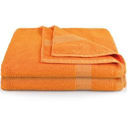 CelinaTex Saunatuch Duschtuch Strandlaken Frottee Bari Doppelpack XXL 90x220 orange