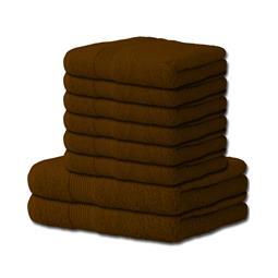 Handtuch Baumwolle Bari Set 6x 50x100 + 2x 70x140 schokobraun