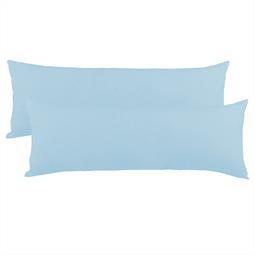 Kissenbezug Seitenschläferkissen Stillkissen Mako-Baumwolle Jersey Doppelpack 40x200  BeNature aquablau