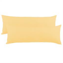 Kissenbezug Seitenschläferkissen Stillkissen Mako-Baumwolle Jersey Doppelpack 40x200  BeNature cremegelb