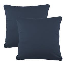 Kissenbezüge Kissenhülle Kissen Mako-Baumwolle Jersey Doppelpack 40x40 BeNature dunkelblau