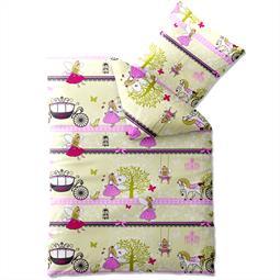 Kinder Bettwäsche Baumwolle Biber Kids 135x200 kleine Elfe rosa Fee
