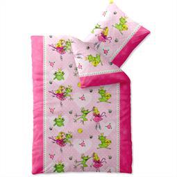 Kinder Bettwäsche Baumwolle Biber Kids 135x200 Prinzessin Frosch rosa
