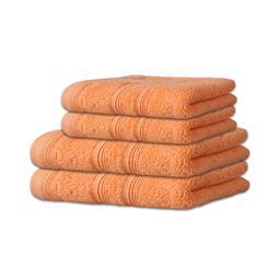4-tlg. Frottee Set Duschtuch Saunatuch 600 g/m² Capri apricot