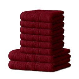8-tlg. Frottee Set Handtuch Duschtuch 600 g/m² Capri bordeaux rot