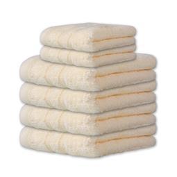6-tlg. Frottee Set Handtuch Duschtuch 600 g/m² Qualität Capri creme weiß