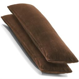 CelinaTex Kissenbezug Seitenschläferkissen Coral-Fleece flauschig Comfortable Doppelpack 40x145 dunkelbraun