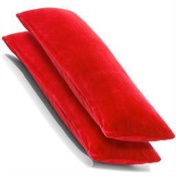 CelinaTex Kissenbezug Seitenschläferkissen Coral-Fleece flauschig Comfortable Doppelpack 40x145 rot