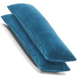 CelinaTex Kissenbezug Seitenschläferkissen Coral-Fleece flauschig Comfortable Doppelpack 40x145 blau