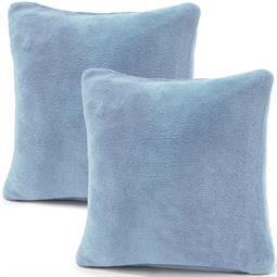 Kissenbezug Coral-Fleece Doppelpack 80x80 hellblau Comfortable