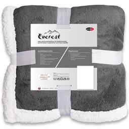 CelinaTex Kuscheldecke Coral-Fleece Everest 200x220 cm grau